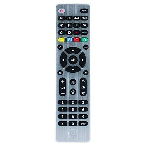 GE 4 Device Universal Remote, Works with Smart TVs, LG, Vizio, Sony, Blu Ray, DVD, DVR, Roku, Apple TV, Streaming Players, Simple Setup, Auto Scan, Pre-Programmed for Samsung TVs, Silver, 33709