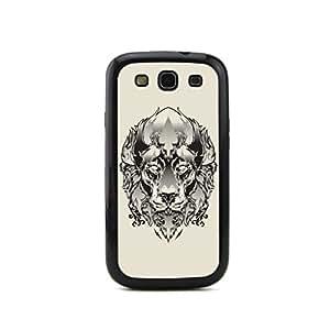 ecenter - croquis motif tête de portrait en relief sériesabueso negro Bumper plastique + cas de TPU couverture for Samsung Galaxy S3 SIII i9300 Teléfono Móvil