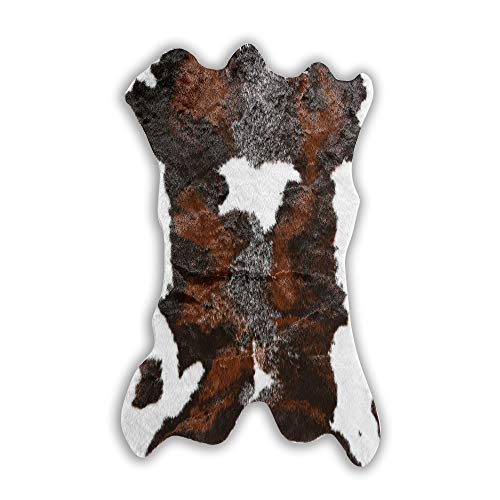 Faux Cowhide Cow Print Rug for Western Decoration Faux Calfskin Calf Hide Cow Skin Rug Leather Area Rug 29x43 ()