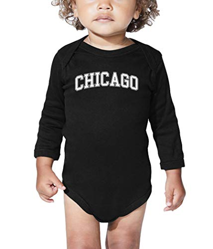 HAASE UNLIMITED Chicago - State Proud Strong Pride Long Sleeve Bodysuit (Black, 6 Months) -