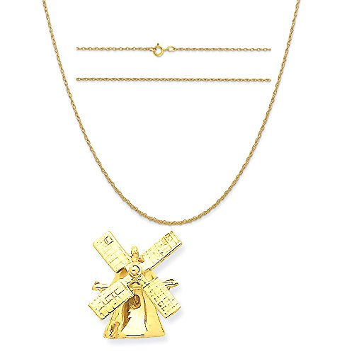 14k Yellow Gold Wind Mill Charm on a 14K Yellow Gold Carded Rope Chain Necklace, 16