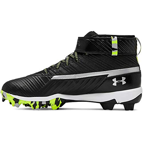 Under Armour Boys' Harper 3 Mid Jr. RM Baseball Shoe, Black (001)/White, 3