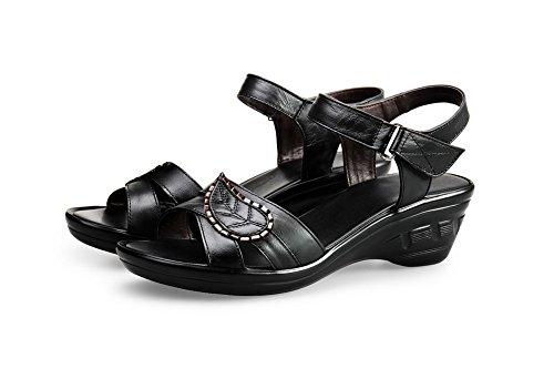 AgooLar Mujeres Sólido Material Suave Tacón ancho Velcro Puntera Abierta Sandalia Negro
