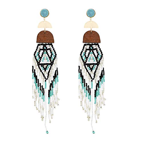 DDLmax Long Tassel Earrings for Women - Geometric Irregular Multicolor Handmade Rice Beads Earring Ladies Jewelry Gift (White Gold Cz Leverback Earrings)