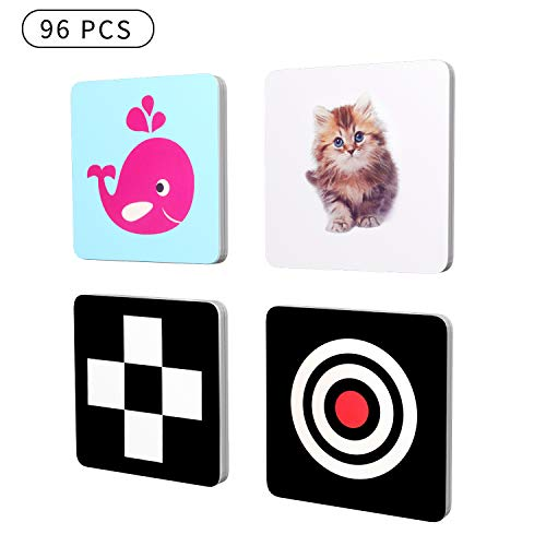 Black and White Baby Flash Cards for Infants and Toddlers, 4Packs 96 Cards 192 Pictures (5.5'X5.5'), Black and White and Colorful Objects, High Contrast Baby Cards Stimulating Brain Development
