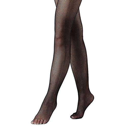 DANCEYOU Fishnet Tights Basic Padded Footed Latin Seamless Tight for Women Black SA/MA