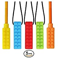 CHEW~E~Chainz Premium Pack Sensory Chew Necklace Set (5-Pack-Includes 2 Bonus Pencil Toppers)- Silicone Chewy for Autism, ADHD, Biting & Teething Boys and Girls, The New CHEW-Stronger & Lasts Longer