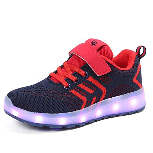 Led Children Lighting Boys/Girls Illuminated Sneaker USB Charger Glowing Sneakers Red 2 M US