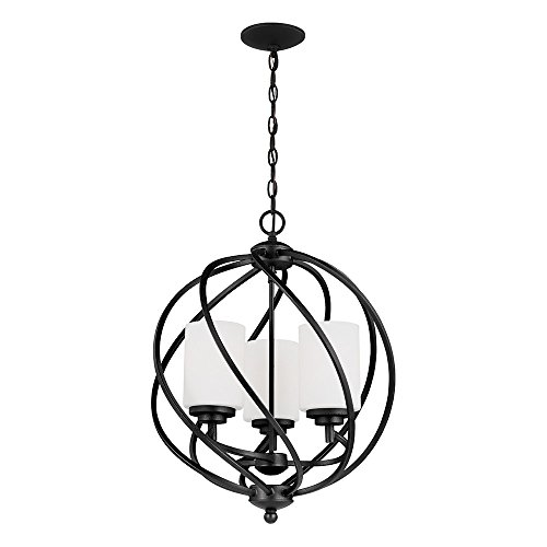 Sea Gull Lighting 5125203-839 Goliad Three-Light Hall or Foyer Light Fixture with Etched White Inside Glass Shades, Blacksmith Finish