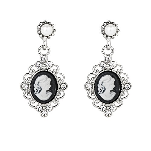 (Lova Jewelry Vintage Black White Silhouette Cameo Clear Crystals Silver Tone Earrings)