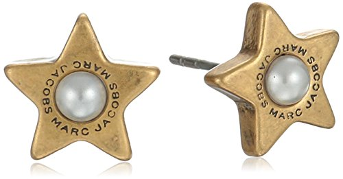 UPC 889732548345, Marc Jacobs Flat Pearl Star Charm Cream/Antique Gold Stud Earrings