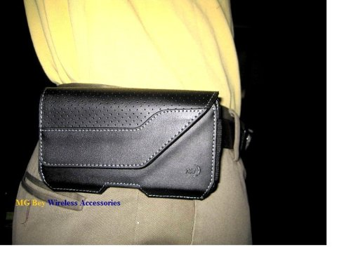 Nite Ize Black Executive Genuine Leather Horizontal Heavy Duty X-large Holster Pouch W/Rugged Fixed Belt Clip for Verizon Kyocera Brigadier (Screen Icon Kyocera)