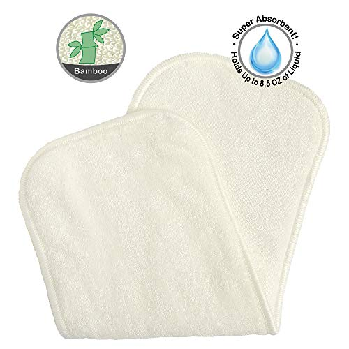 """Bluesnail Absorbent and Soft Cloth Diaper Liner, Washable and Reusable Bamboo Inserts (10PK, 13""""X5"""", White)"""