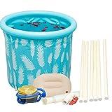 GJFeng Blue Household Large Folding Bath Barrel Bath Barrel Body Adult 65cm65cm, 70cm70cm (Color : Light Blue, Size : 70cm70cm)
