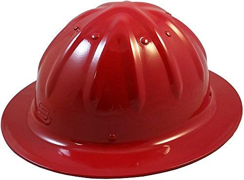 Original SkullBucket Aluminum Hard Hats, Full Brim with Ratchet Suspensions RED