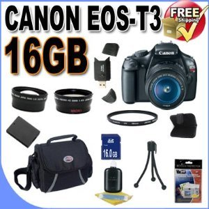 UPC 662425803521, Canon EOS Rebel T3 12.2 MP CMOS Digital SLR with 18-55mm IS II Lens and EOS HD Movie Mode (Black)+ 58mm 2x Telephoto lens + 58mm Wide Angle Lens (3 Lens Kit!!!)W/16GB SDHC Memory +Extra Battery+UV Filter+Case+Accessory Kit