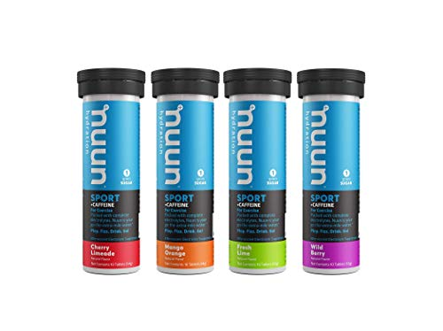 Nuun Sport + Caffeine: Electrolyte Drink Tablets, Mixed Flavor Box, 10 Count (Pack of 4)