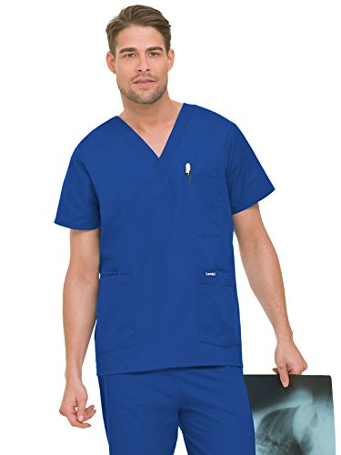 Landau Men's 5-Pocket Locker Loop V-Neck Scrub Top, Royal Blue, Large