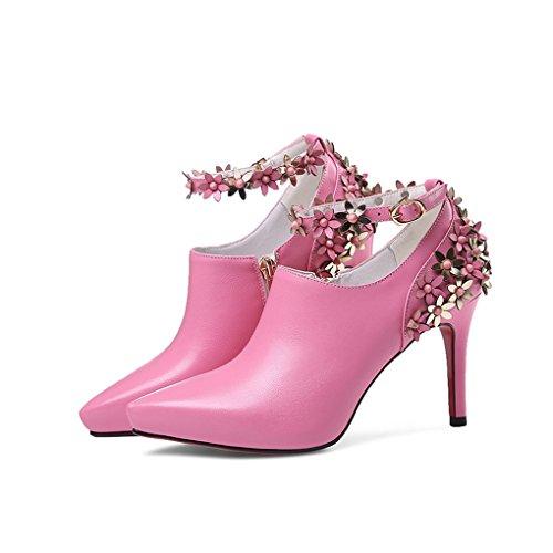 LBDX Dama de Sueltos Flores Alto Tal Delgadas Cuero Zapatos Oveja Piel del rrqngd