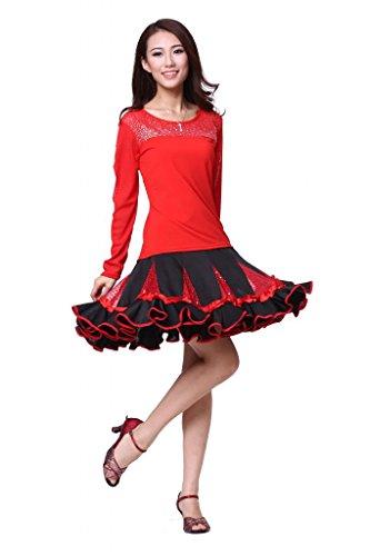 ZLTdream Women's Square Dance Costume 2pcs/set(Top+Skirt) Red]()