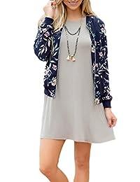 Women's Elegant Full Zip Up Floral Print Blazer Baseball Bomber Jacket
