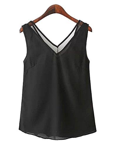 Zehui Camiseta Top sin mangas del chaleco del verano de las mujeres de la manera camisa profunda del cuello en V de la blusa...