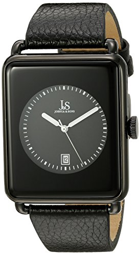 Joshua & Sons Men's JS95BK Black Quartz Watch with Black Dial and Black Leather Strap