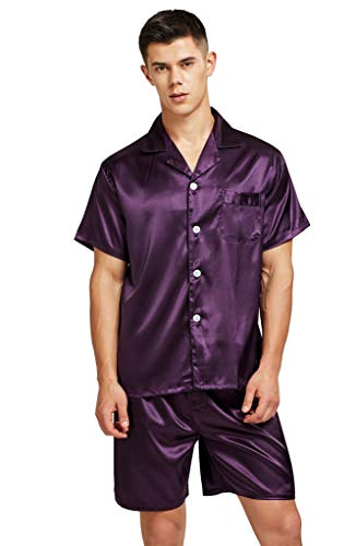 (Men's Short Sleeve Satin Pajama Set with Shorts (Large, Purple))