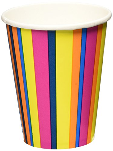 Lillian Tablesettings 24-Piece Twin Stack Paper Cups Set, 9-Ounce, Bright Pink Stripe