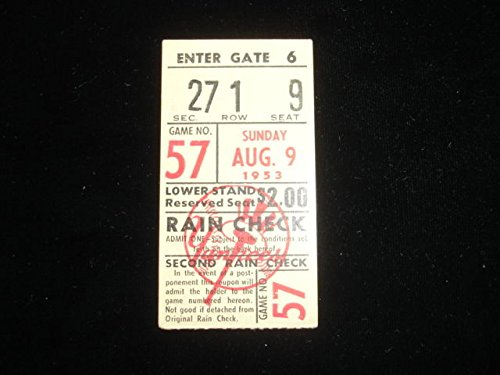 August 9, 1953 Yankees Game Ticket Stub
