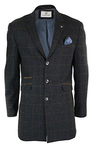 Cavani À 3 Tweed Style 4 Homme Vintage Anthracite Longueur Blinders Peaky Manteau Carreaux rOxvwO