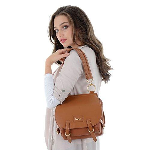 Shoulder Saddle Lotus Leather JAM Bag Strap Tote Ladies Fashion Chestnut Medium PU Faux Womens Closure Zip Size Handbag wUwq7E