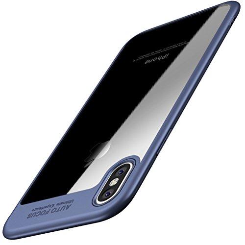 Funda iPhone X, Funda para iPhone 10 FLy Apple Funda protectora impermeable a prueba de golpes Anti-Scratch Transparente Funda trasera con TPU Placa trasera para iPhone de Apple 5.2 pulgadas (Azul) Azul
