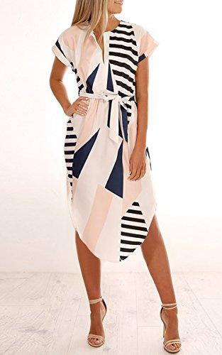 Summer Geometric Print Belted Dress