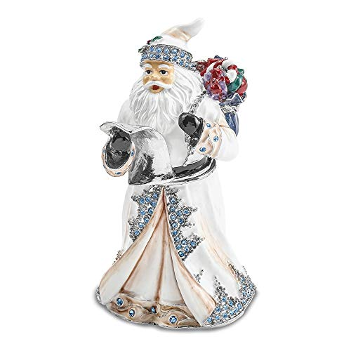 Jere Luxury Giftware Bejeweled St. Nicholas Sinterklaas White Santa, Pewter with Enamel Collectible Trinket Box with Matching Pendant Necklace