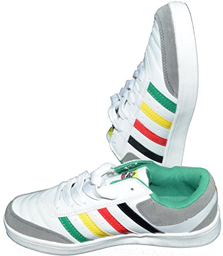 New Fashion Mens Ladies Rasta Trainers Lace Up Shoes (UK-8.5, US-9, EUR-44, White)