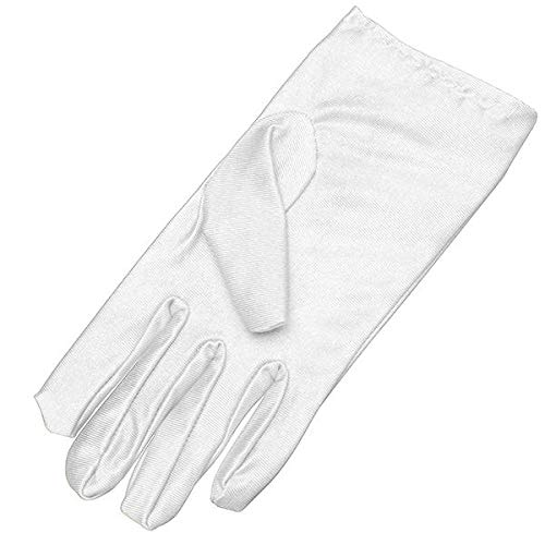 Women Dance Show Gloves Wedding Prom Stretchy Plain Satin Bridal Party Fancy Dress Accessory - Motorcycle Motorcycle Gloves - (White) - 1 X Pair Of Full Finger Gloves