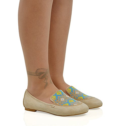 On Suede Flat Womens Beaded ESSEX Shoes Faux GLAM Loafers Ladies Embroidered Aztec Slip Nude New Pumps q4nXWB