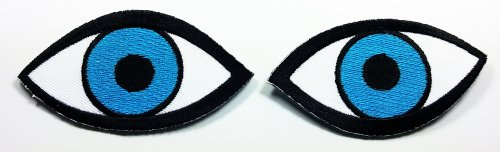 Blue Eye Patches 7.3x4 Cm Iron on Patch/embroidered Patch This Appliques Are Great for T-shirt, Hat, Jean ,Jacket, Backpacks