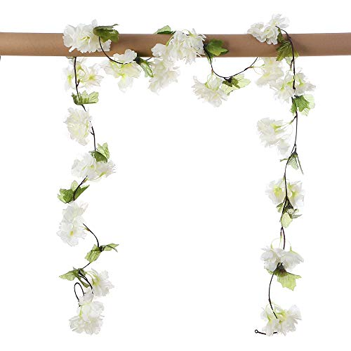 Only Angel Artificial Rose Flower Wholesale Flowers Vine Garland Hanging Christmas Decor Flowers Wedding Home Garden Outdoor Decoration-2 Pack Cream