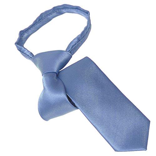 Tie the Knot Attire Youth Zipper Tie,Steel - Light Slate Blue