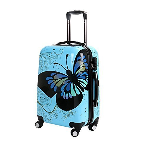 20-Blue-Butterfly-Upright-Spinner-Travel-Luggage-Suitcase-4-Wheel-Cabin-Trolley-Set-by-WindMax