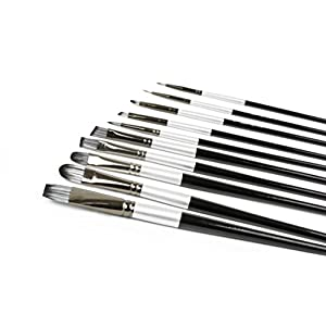Adi's Art Pro 4336965684 Brushes Set for Acrylic Oil Watercolor, Artist Face and Body Professional Painting Kits with Synthetic Nylon Tips, 10 Pieces - Black, Size 2,