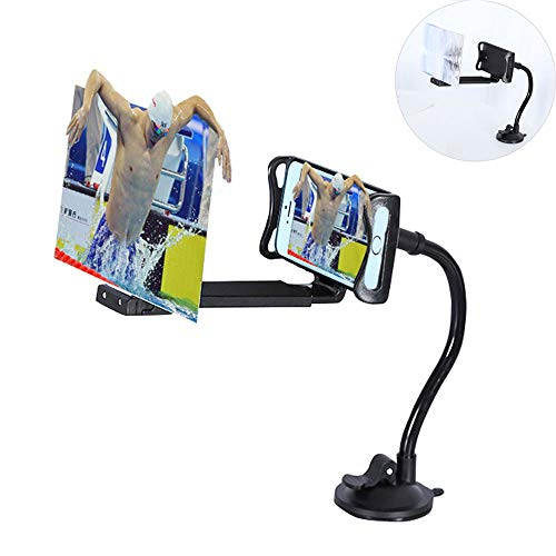 Mobile Phone Screen Magnifier, Keledz 12 inch 3D HD Screen Enlarger Video Movie Amplifier Cell Phone Projector with Stand Holder for iPhone Samsung Smartphones (Black)