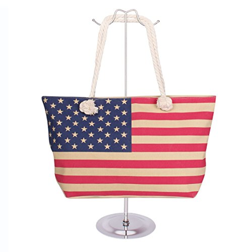 Price comparison product image American Flag Canvas Large Tote Rope Handles, Beige