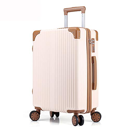 20' Trolley Bag - LIYONG Trolley Case Aluminum Frame Boarding Universal Wheel Trolley Bag Anti-Scratch Business Box (Color : Beige, Size : 20'')