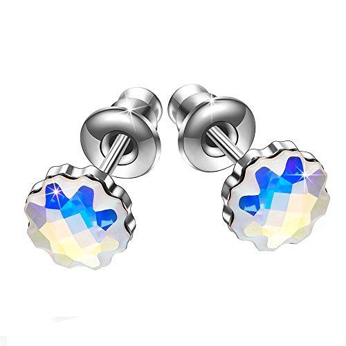 (Brilla Gifts for Women Hoop Earrings Stud Fashion Jewelry with Swarovski Elements Crystal (Butterfly Dream/Heart Love/Periwinkle Flower) (Light Blue- Stud))