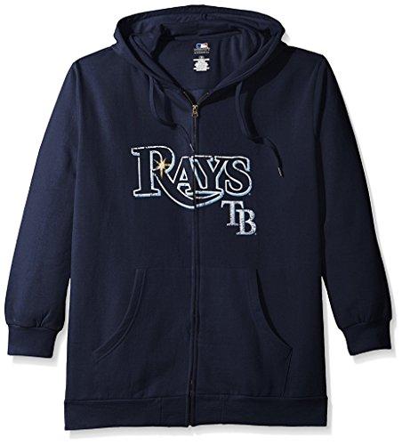 Tampa Bay Rays MLB Mens Majestic Distressed Wordmark Full Zip Hoodie Navy Blue Size 3XL