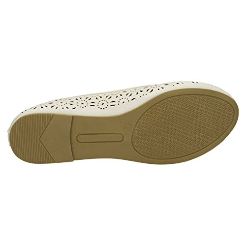 Damen On Ballerinas Sommer Damen Slip On Weiß Spot nA6WqBvwYx