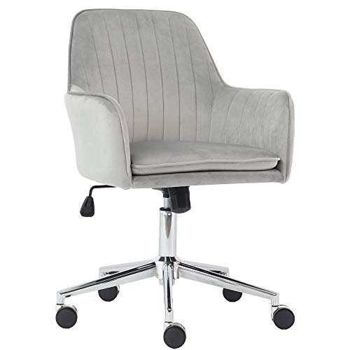 J&L Furniture Velvet Fabric Home Office Chair Mid-Back Desk Chair Mordern Comfort Task Chair with Side Arms Adjustable Height Computer Chair Fit for Meeting and Reception (Grey)
